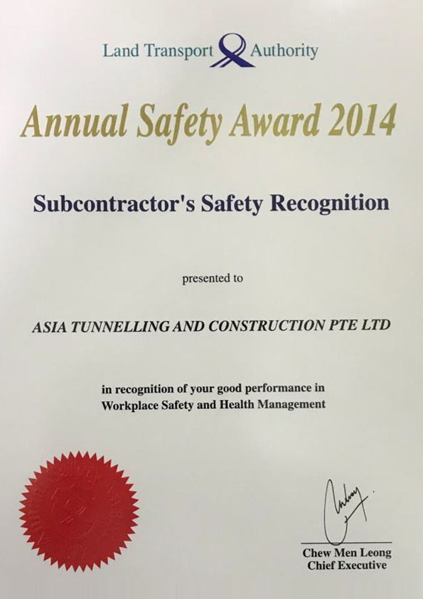 Annual Safety Award fro LTA 2014