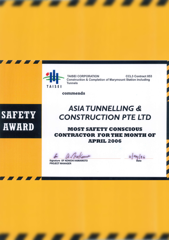 Safety Awards form Taisei for C853 apr 2006
