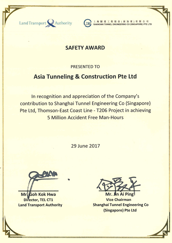 Safety Award for T206 Project