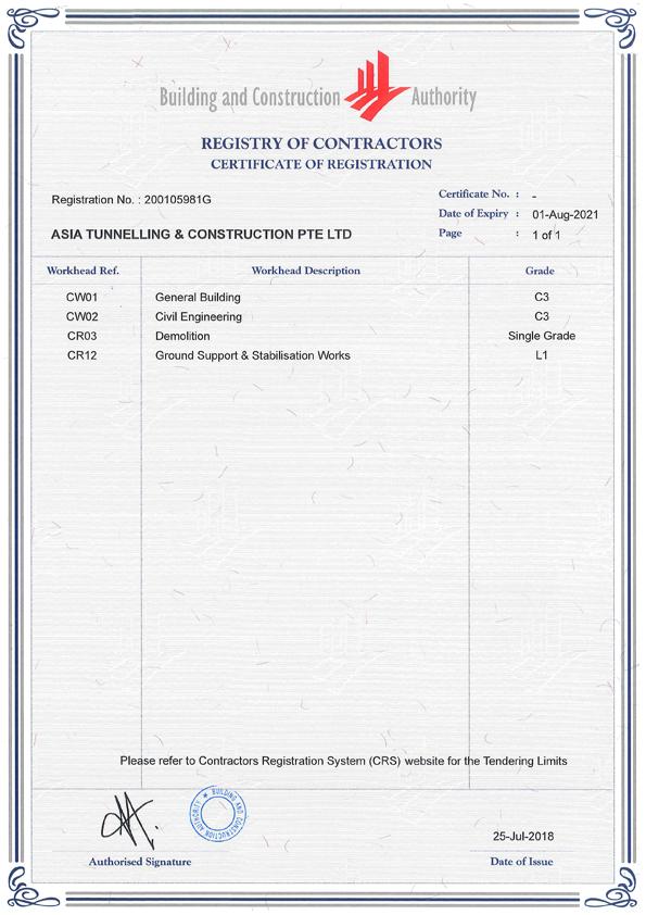 BCA Contractor Registration 2018
