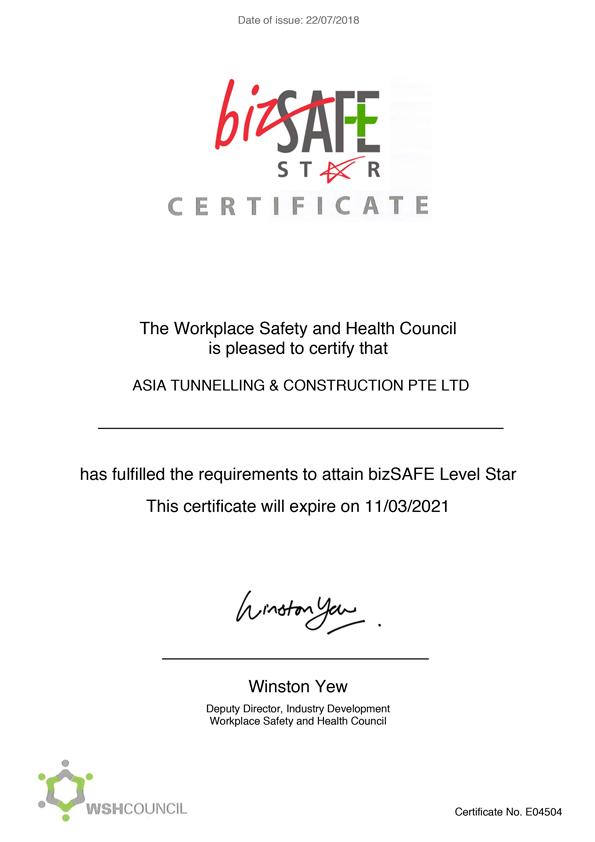 Bizsafe Certificate 2018